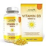 Vitamine D3 10,000 IU - 365 Gélules - Articulations, Os Et Dents En...