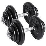 SONGMICS Lot de 2 haltères Courts en Fonte 20 kg 30 kg 40 kg 50 kg...