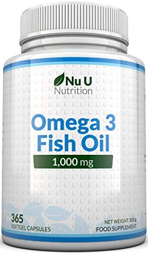 Omega 3 Fish Oil 1000 mg - Huile de poisson, oméga-3 - Cure d'1 An,...