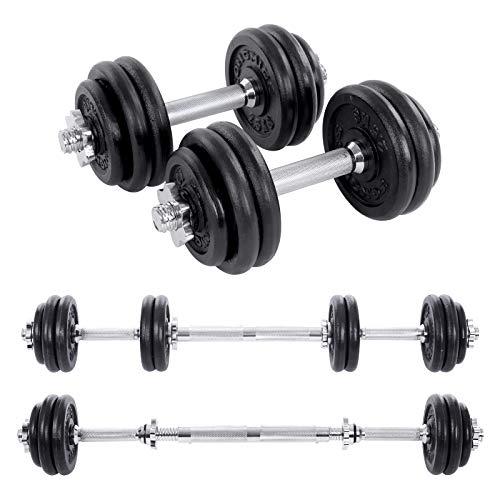 SONGMICS Kit haltères Musculation, avec Barre d'Extension, 30 kg,...