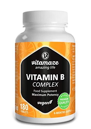 Vitamaze® Vitamine B Complex à Haute Dose, Vegan avec 180 Comprimés...