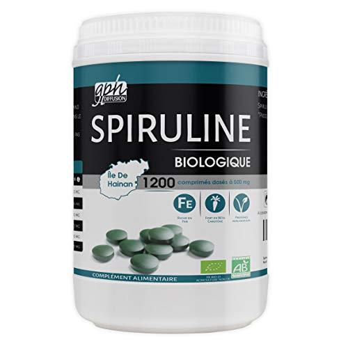 Spiruline Bio AB 500 MG - 1200 comprimés - Riche en Protéines,...