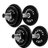 Movit® 2 x Haltères Courts de 10 kg en Fonte (Poids 4 x 2,5kg et 4 x...