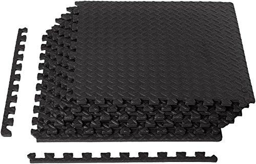 Amazon Basics Exercise Mat with EVA Foam Interlocking Tiles-black