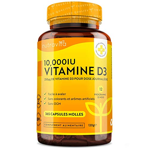 Vitamine D3 10000 IU - 365 Gélules – Articulations, Os Et Dents En...