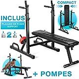 Sportstech Banc de Musculation innovant 21 en 1 avec Support de Plaque...