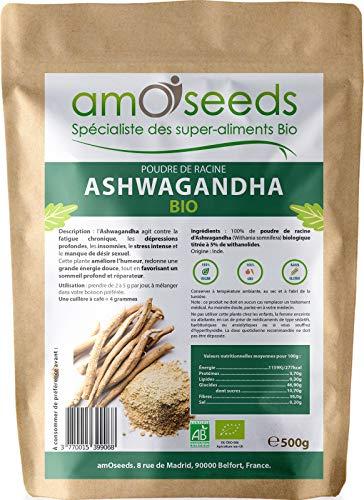 Ashwagandha en Poudre Bio 500G | 5% withanolides | Anti-stress,...