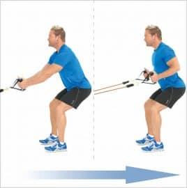 Rowing en position squat pour muscler le dos