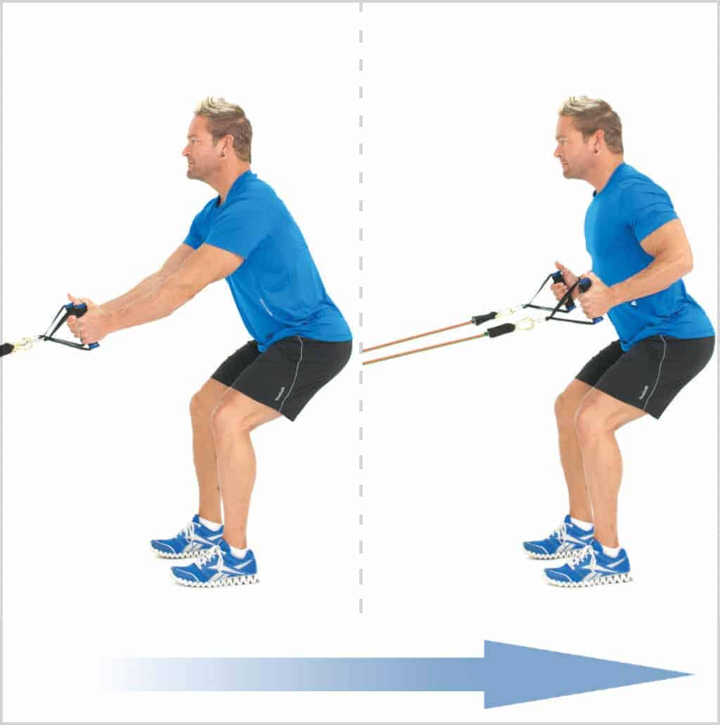 Rowing en position squat pour muscler le dos