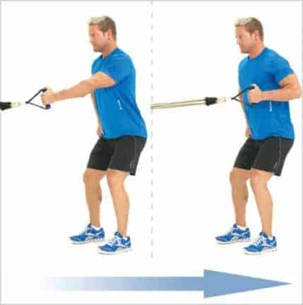 Rowing debout resistance bandes élastiques fitness musculation