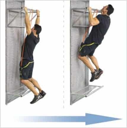 Entraînement tractions avec elastique de musculation