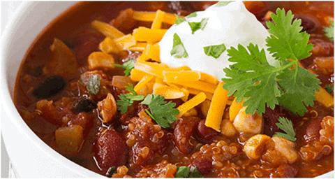 Plat vegan protéine sans viande - Chili de quinoa
