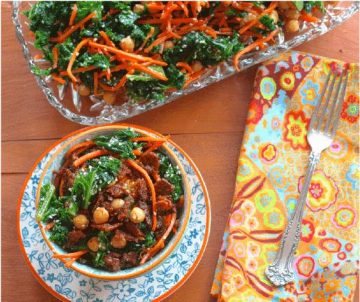 Recette végétale aux protéines - Salade de Choux avec pois chiches et tempeh épicé