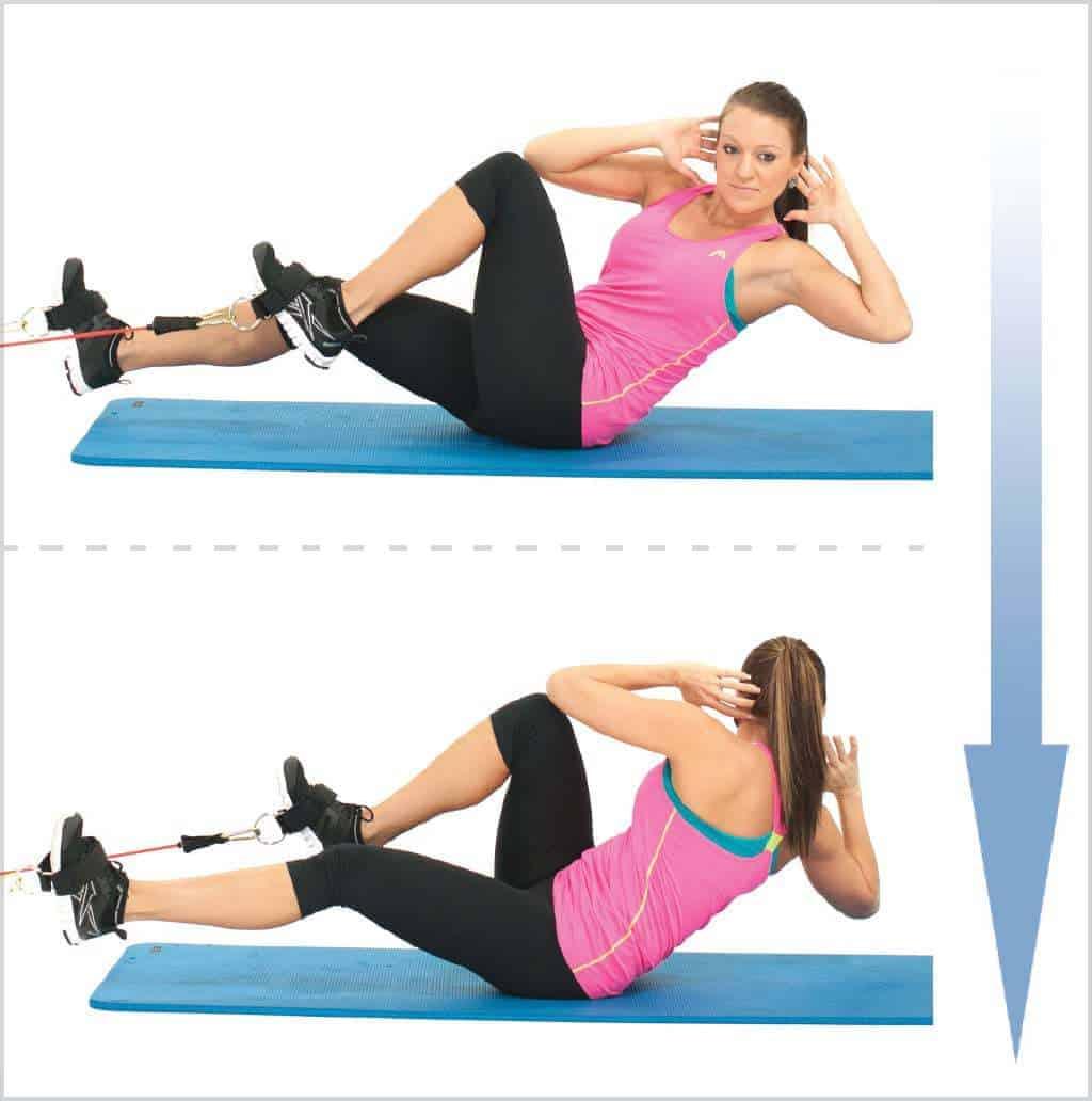 exercice abdos avec bande élastique - Bicycle crunch