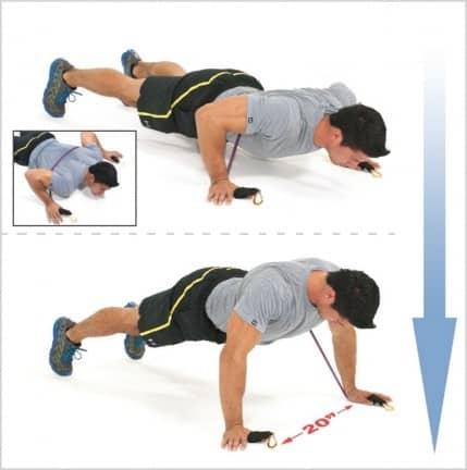 pompes avec bandes Bodylastics pour progresser en musculation