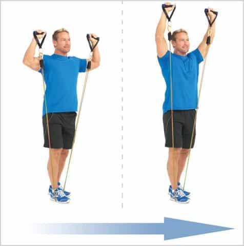 développé épaules avec bandes élastiques