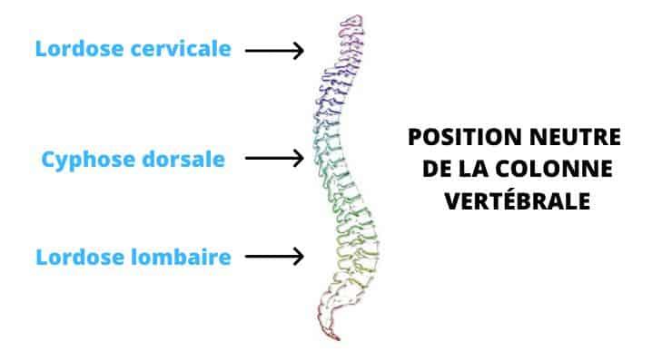 Maux de dos - position neutre de la colonne vertébrale