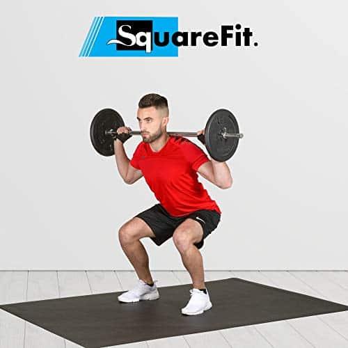 SquareFit - Grand Tapis de Sol Fitness Ultra Resistant   122x183cm épaisseur 6mm   Tapis de protection antidérapant HIIT, Musculation, Crossfit, Cardio Training, Corde à sauter